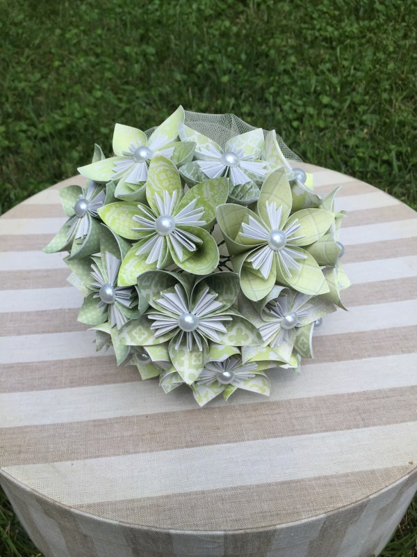 Green Origami Flower Bouquet