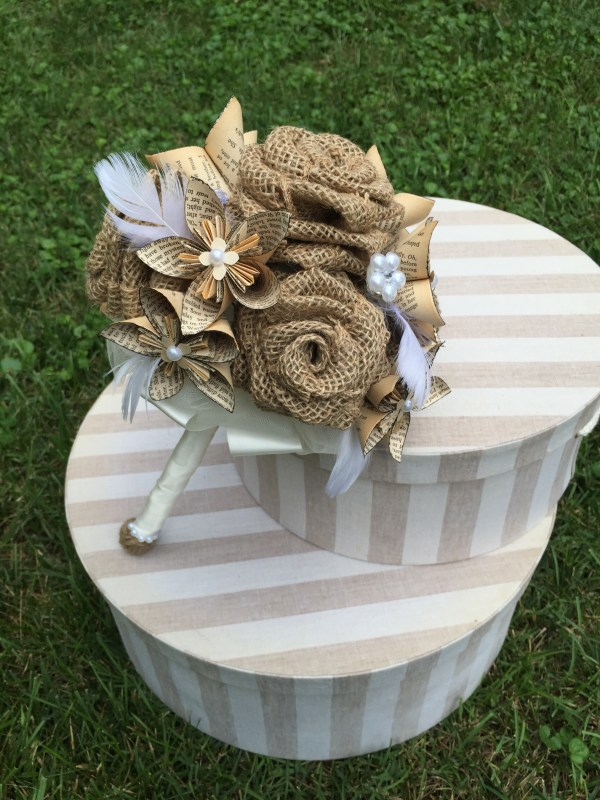 Feathery Burlap & Book Page Bouquet
