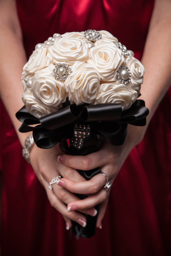 Brooch and Satin Ribbon Rose Bridesmaid Bouquets