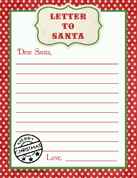 Letter to Santa printable from thecraftingchicks.com