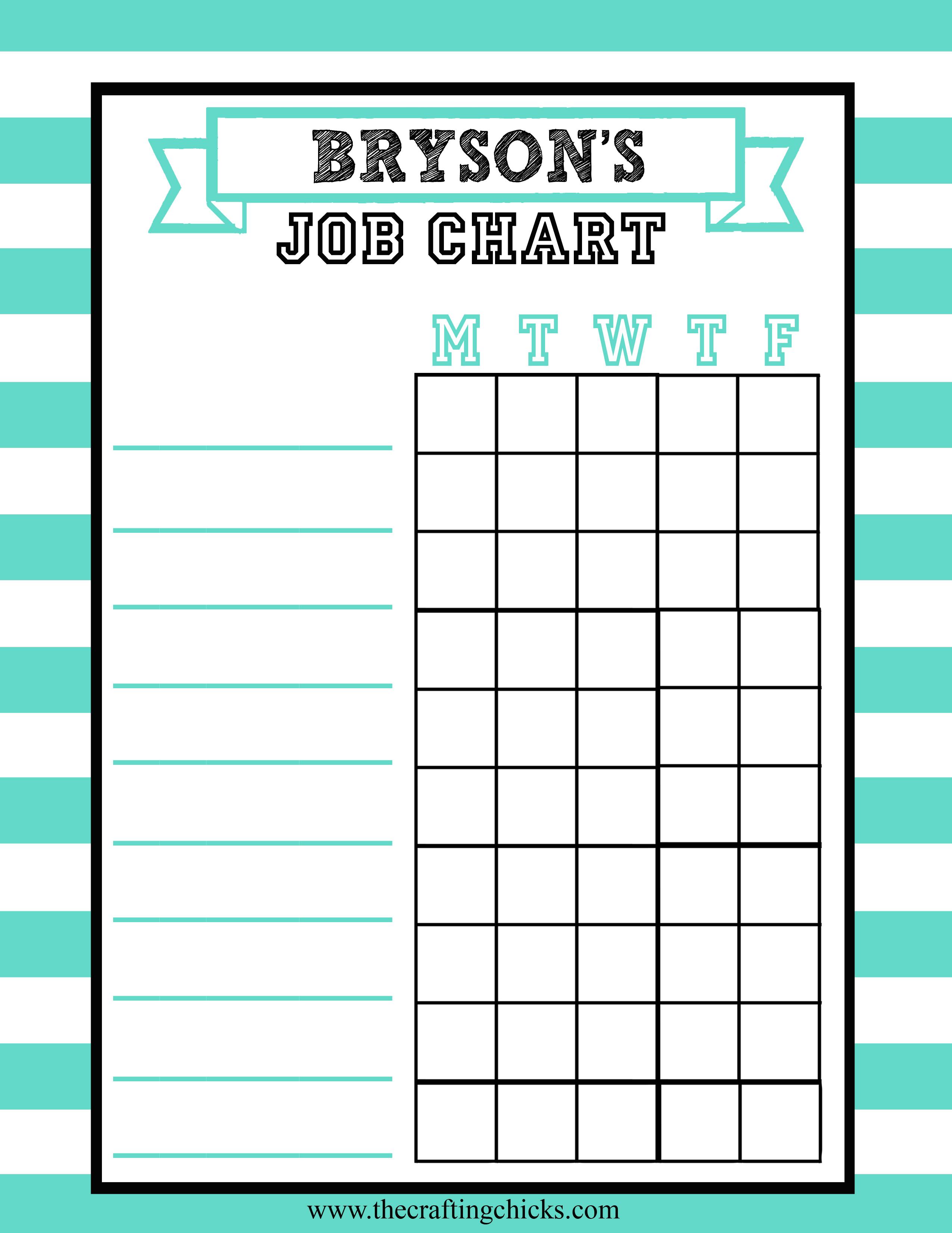 Job Charts Free Printable