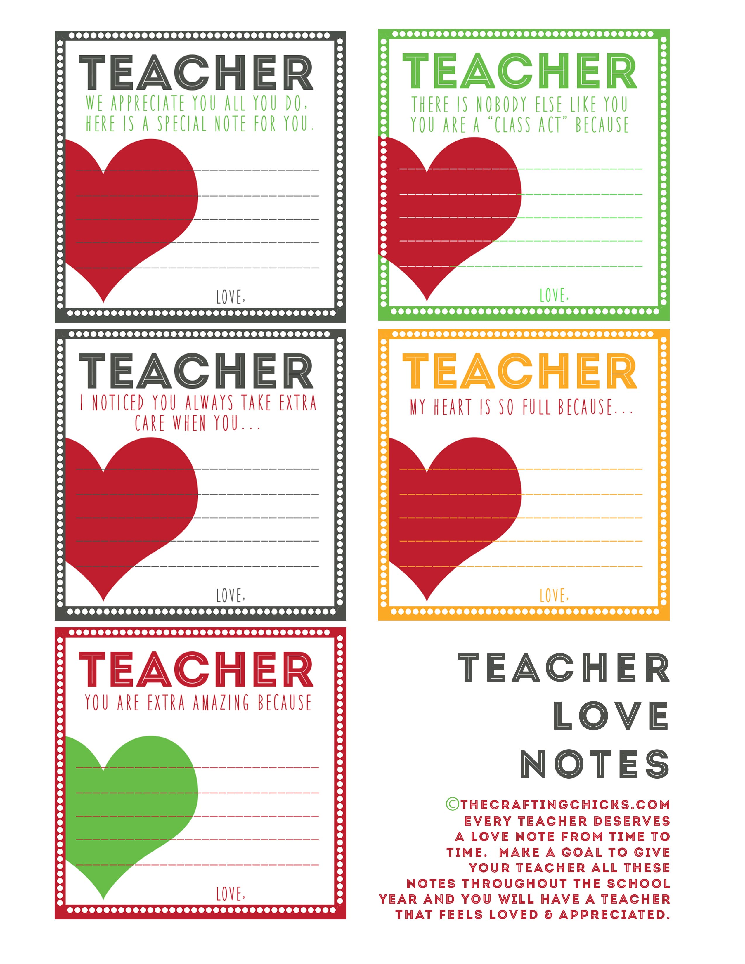 Teacher Love Notes Amp Back To School Printables