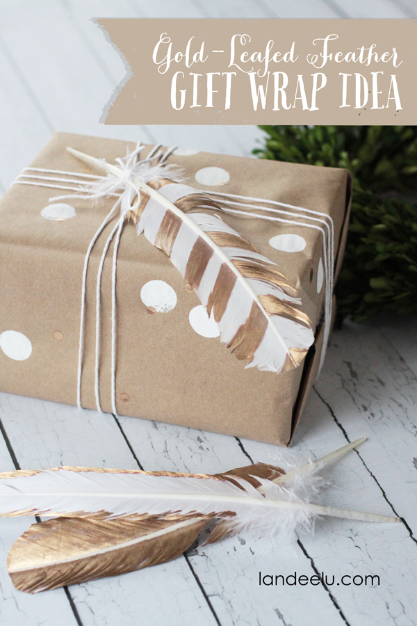 Gold Leafed Feather Gift Wrap Idea