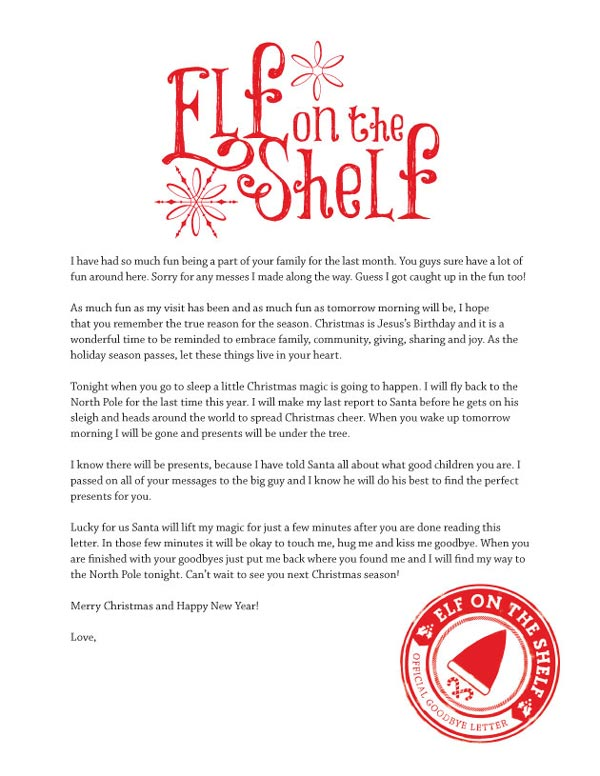 goodbye letters from elf on shelf