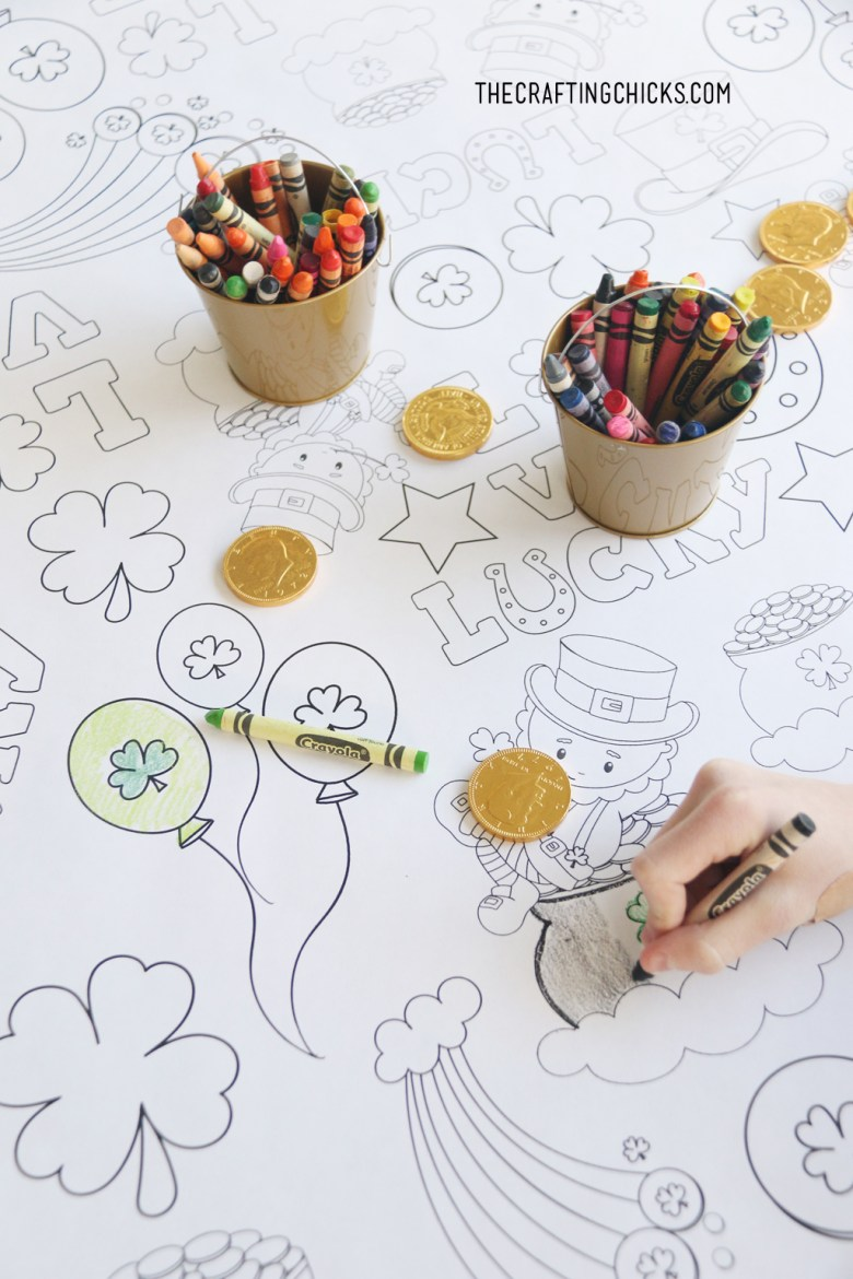 st. patrick's day coloring table cloth - the crafting chicks