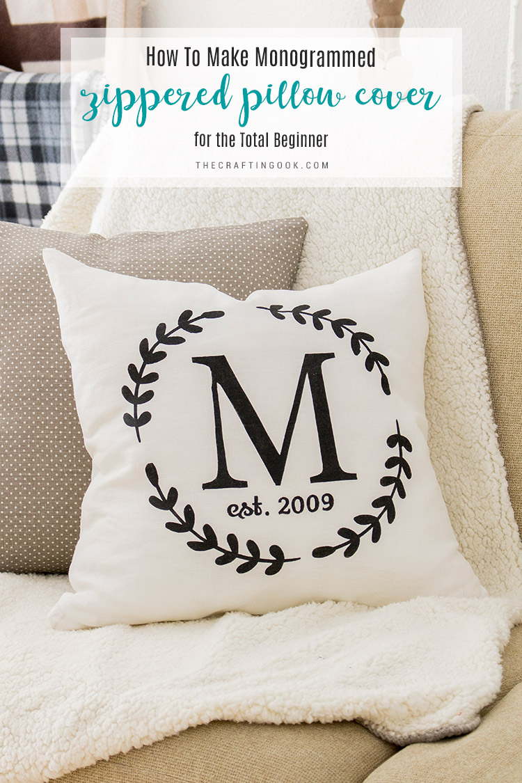 monogrammed zippered pillow cover