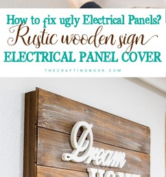 rustic wooden sign electrical panel cover [ 750 x 1600 Pixel ]