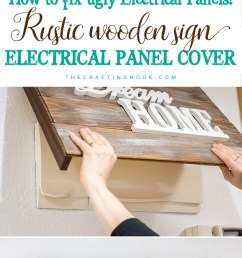 diy rustic wooden sign electrical panel cover [ 750 x 1800 Pixel ]