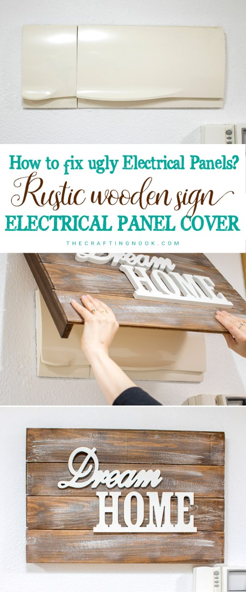 small resolution of diy rustic wooden sign electrical panel cover