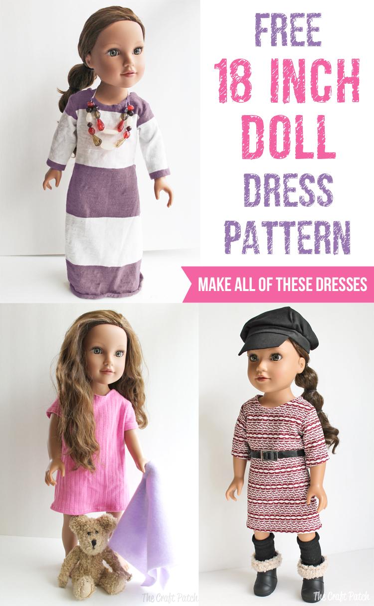 18 Inch Doll Dress Patterns : dress, patterns, American, Basic, Dress, Pattern, Tutorial, Craft, Patch