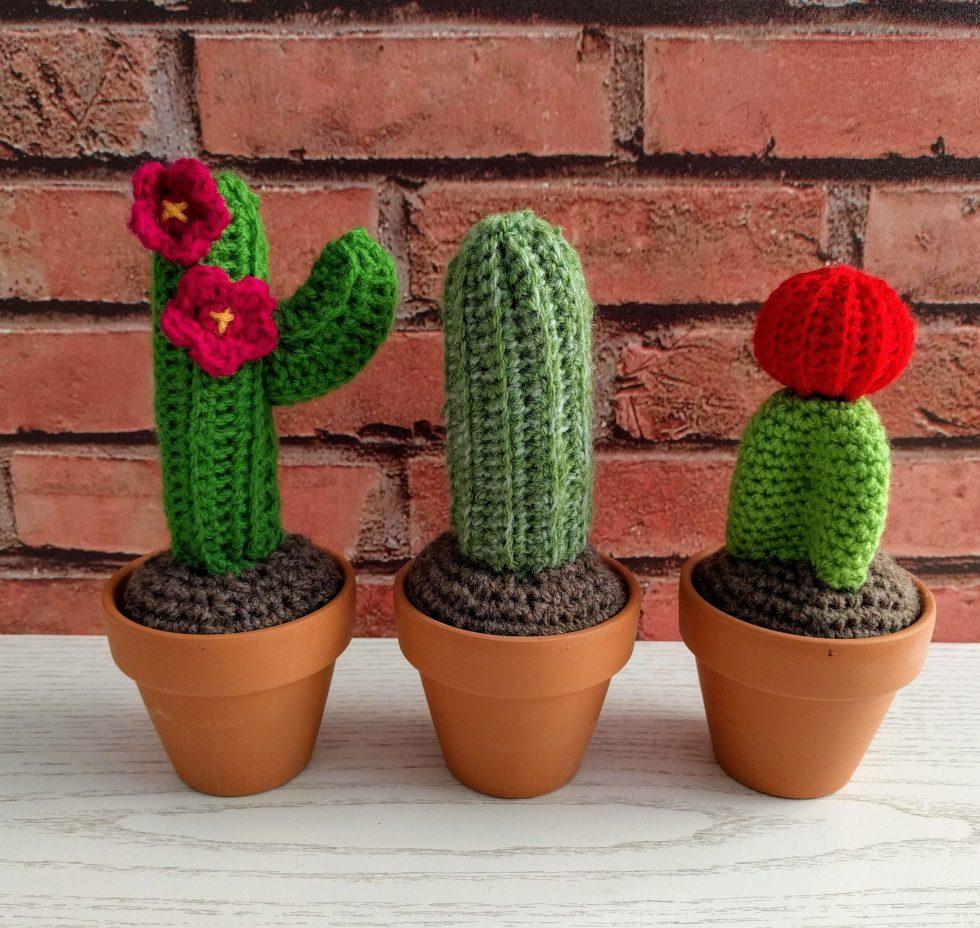 Crochet cacti in terracotta pots