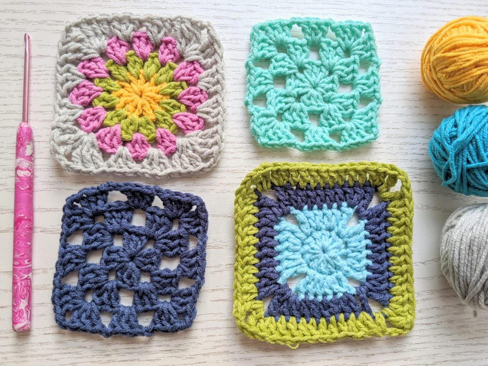 granny squares with crochet hook