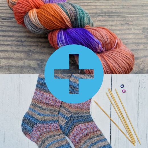 hand dyed yarn and knitted socks