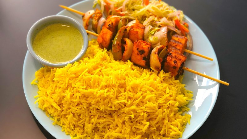 Yellow rice platter