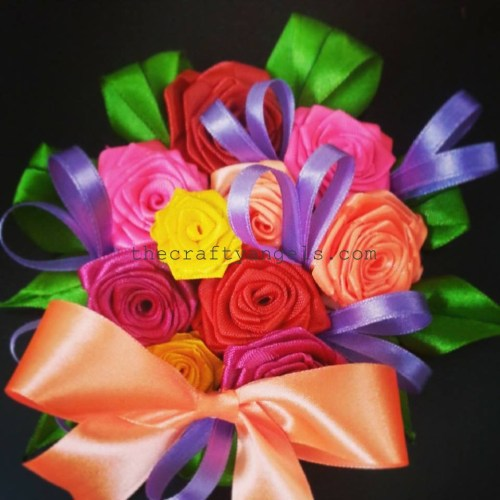 DIY ribbon rose boquet
