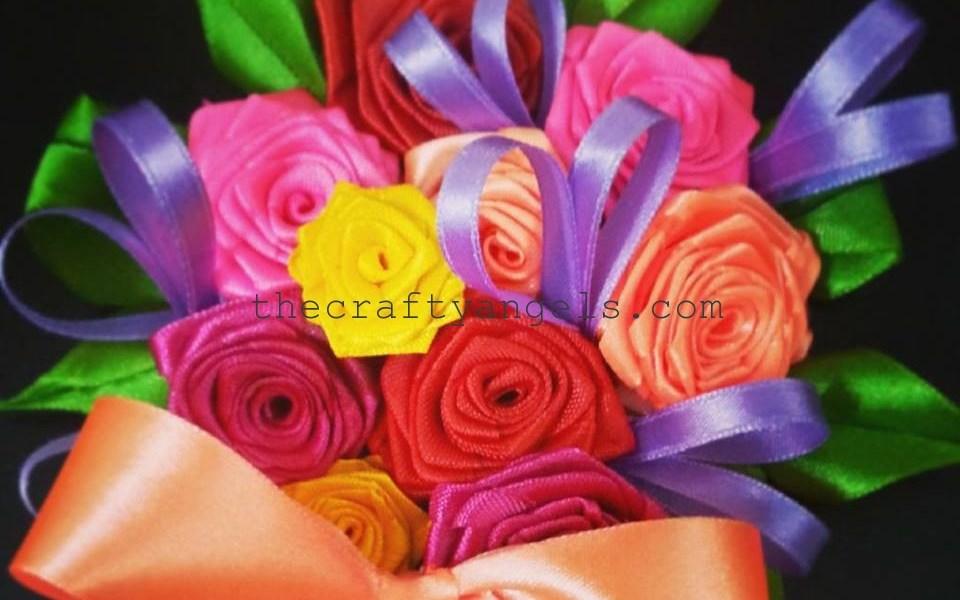 DIY ribbon rose boquet