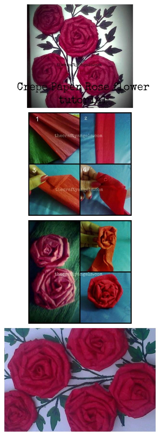 Crepe paper rose flower tutorial collage