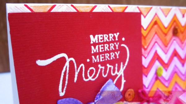 Handmade christmas card with gift box chevron pattern