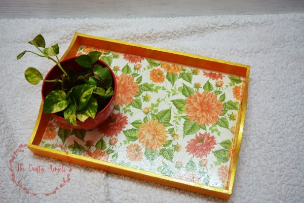 decoupage, decoupage tray, decoupage with paper, indian home decor