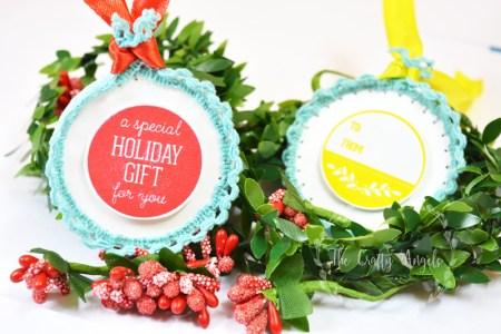 christmas craft, christmas activity, christmas gifting, gift tag, lace edged christmas tags, lace crafts, holiday craft, holiday crafting idea, holiday diy, holiday gifting, holiday DIY,