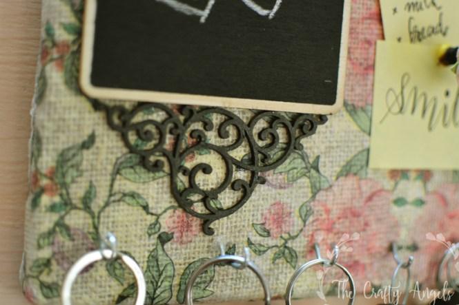 DIY Keyholder, DIY Key holder, how to make a key holder, entryway decor, diy entryway, entryway hacks, decor piece, burlap canvas craft, pinup board, diy pinup board, thecraftyangels, angelajose