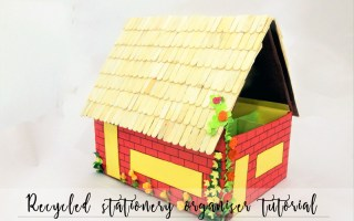 DIY stationery organiser, DIY pen holder , stationery storage, diy pen holder, pen storage, desk storage idea, kids craft, diy mini house, popsicle craft, popsicle house, diy pencil holder, diy penstand, storage idea, diy desk organiser, angela jose, thecraftyangels