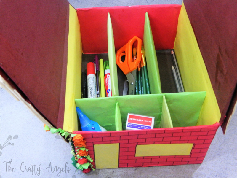 DIY Stationery storage, DIY stationery organiser, DIY pen holder , stationery storage, diy pen holder, pen storage, desk storage idea, kids craft, diy mini house, popsicle craft, popsicle house, diy pencil holder, diy penstand, storage idea, diy desk organiser, angela jose, thecraftyangels