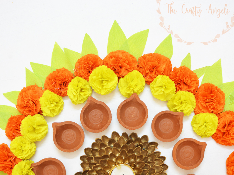 Diy paper marigold flowers for festive decoration paper marigold flowers faux diy paper marigold flower tutorial for diwali dusshera festive decor mightylinksfo