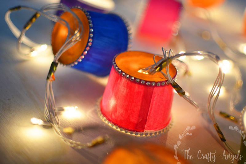 Paper Cup lights garland tutorial as diwali lighting, diwali craft, diwali decor, diwali activity, dieali kids craft, lights, diy lights, diwali lights, diwali lanterns, diwali decor project, paper cup light, paper cup lantern, papercup lampshade, paper cup crafts, christmas lights, festive light