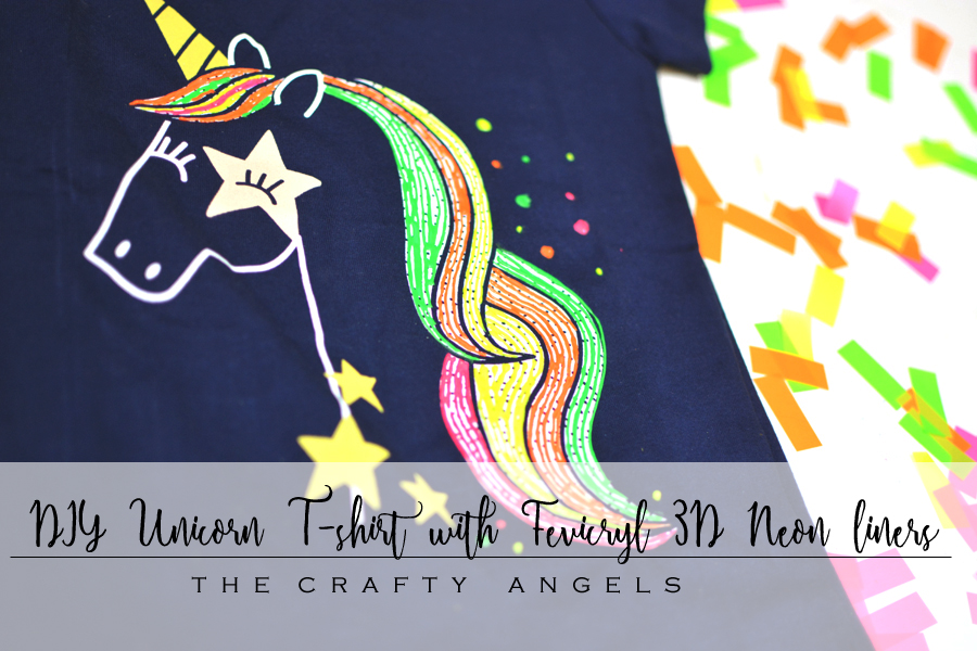 DIY Unicorn T-shirt prop with Fevicryl 3D Neon liners - The