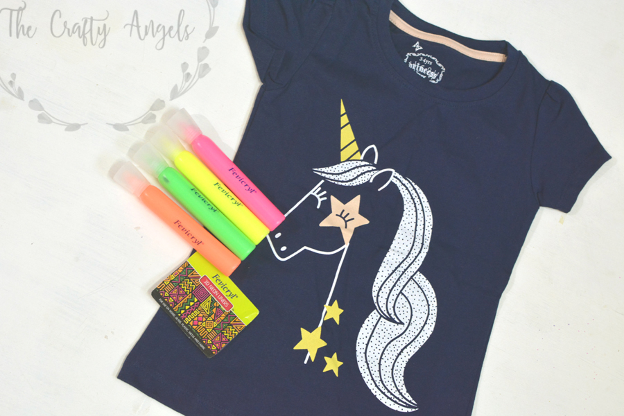 DIY Unicorn T-shirt with Fevicryl 3D Neon liners, 3D liners crafts, fabric painting, 3D painting, DIY embroidery, liquid embroidery, hobbyideas 3d liners, 3d liners project (10), DIY unicorn, unicorn prop, diy unicorn headband, unicorn kids crafts, unicorn projects, unicorn party ideas, unicorn DIY, hobbyideas 3D neon liners, 3D liners, 3D outliner craft, liquid embroidery, fabric painting