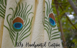 Fabric-painted-DIY-curtains-DIY-painted-curtain-DIY-stencil-painted-curtain-Fevicryl-kalastar-contest-DIY-fabric-painting-ideas-peacock-fabric-painted, hobby ideas, fabric painting ideas, botanical painted curtain, DIY curtains, Stenciled curtain, Fabric stencil ideas