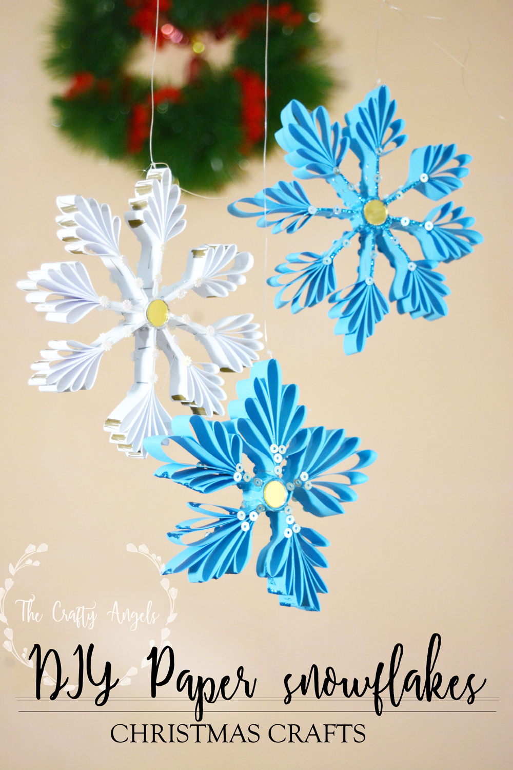 DIY Paper snowflakes Christmas Ornaments Tutorial - The