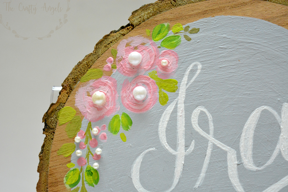 embellishments on wood slice