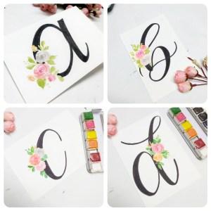 floral monogram a, floral monogram b, floral monogram c, floral monogram d