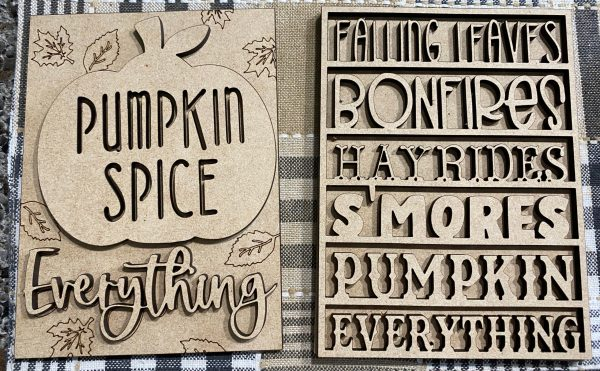 mini tiered tray word wood cutouts with pumpkin and scored leaf