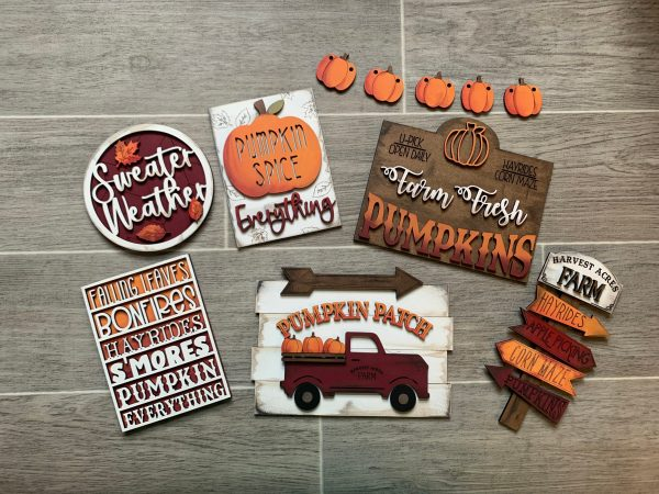 fall themed wood cutouts on mini signs for tiered tray set