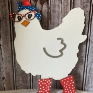 wood painted chicken cut out with boots, bandana and glasses