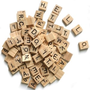 Small Wooden Scrabble Tiles with letters approx 1 inch square