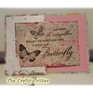 Handcrafted Just Because Card - Butterflies and Pearls