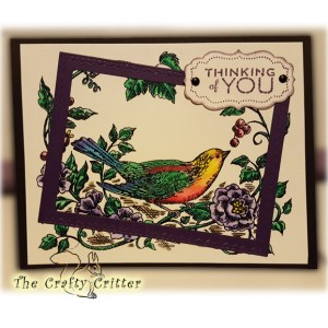 Handcrafted Thinking of You Card - Bird and Flowers