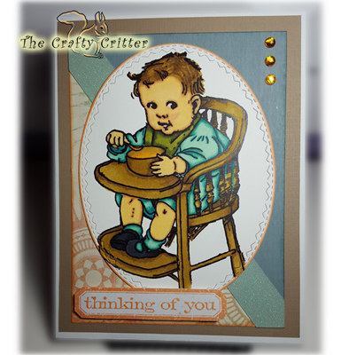 Thinking of You - Vintage Baby in Highchair
