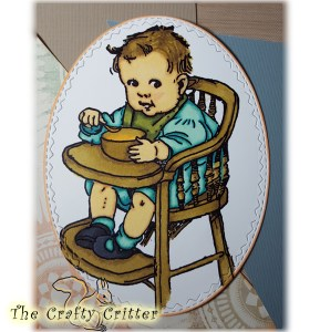 Colored Vintage Baby in a Highchair Image