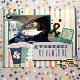 Darrel2585: Love this challenge! Papers from Shimille cover the teal & greys plus the 3 patterned papers; dark teal card stock as layout and photo backing. Car wood veneer covers the travel themed embellishment. The gold and teal tag is an old one from my stash (maggie homes?), a chipboard heart and chipboard/wood veneer arrows round out the challenge!