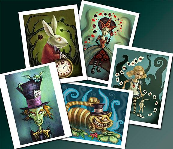 8. Diane Levin Art Alice in Wonderland print set