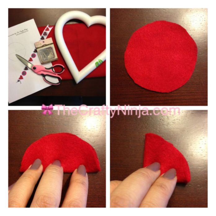 DIY Valentines Felt Flower Wreath Step 1