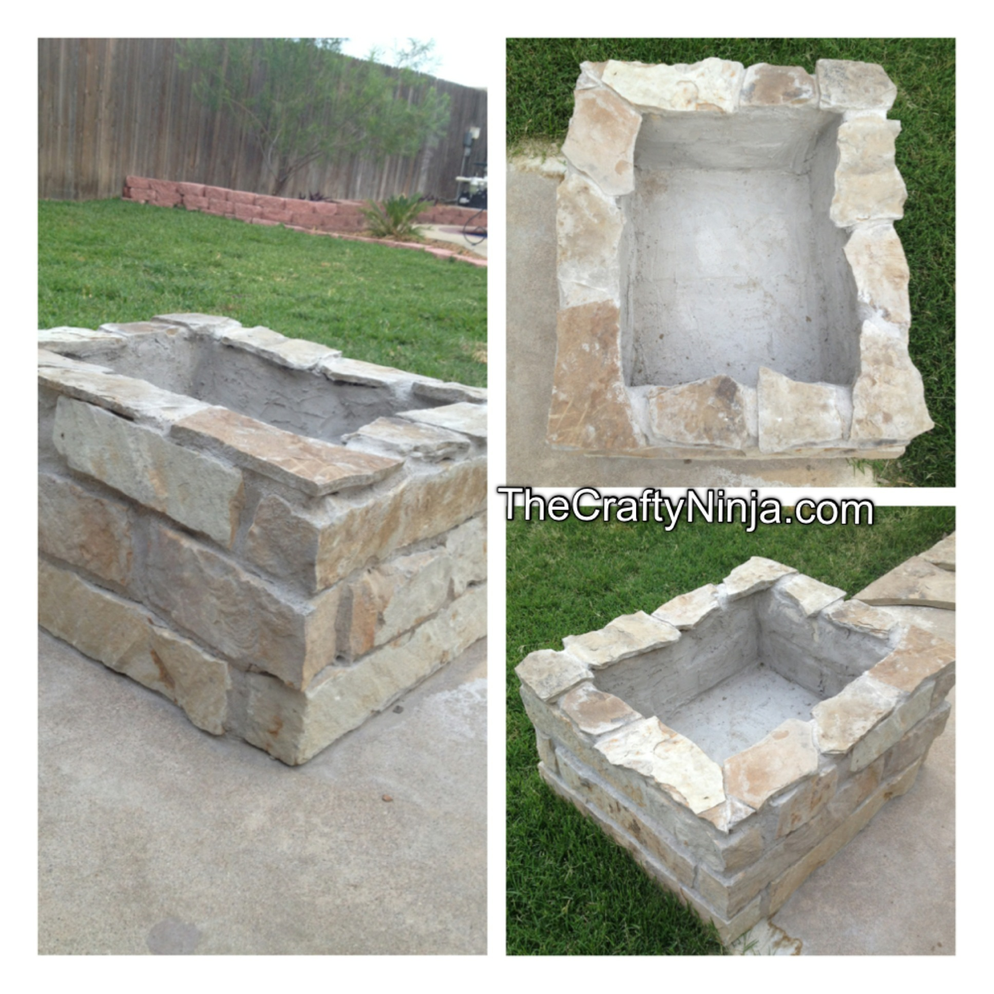 Diy stone fire pit the crafty ninja for Diy brick fire pit