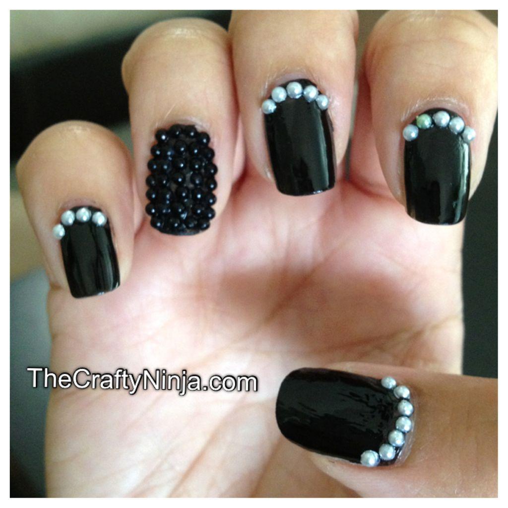 Nail Cake Blue Black Splodges Cow Print: Caviar Pearl Bead Nails