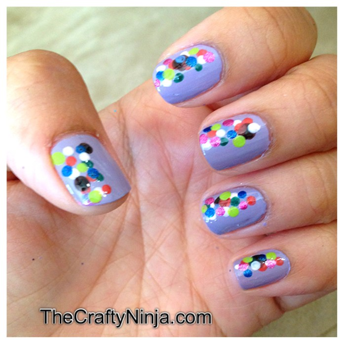 rainbow confetti nails