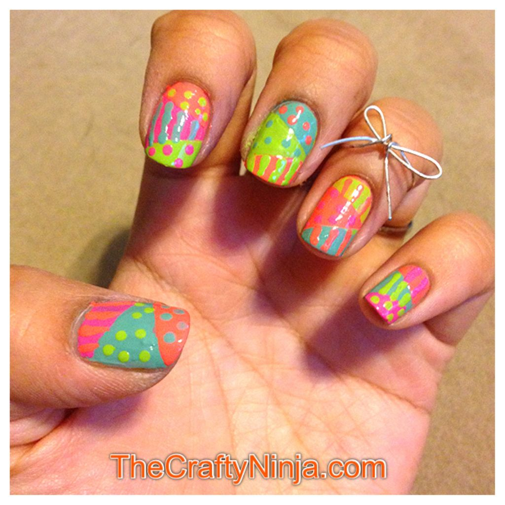 Color Blocking Nail Art The Crafty Ninja